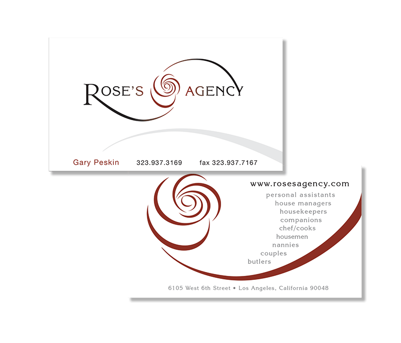 Rose's Agency - business card design by ArmenoDesign.com